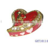 Enamel metal heart red valentine's day gift ring box trinket box, jewelry box,jewelry case with crystals