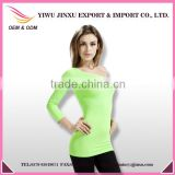 OEM Printing Long Sleeve Fashion Sexy Girl T-shirt Plus Size One-shoulder Seamless Ladies Tops Image