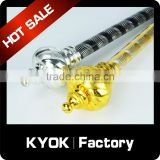 KYOK Engraved design aluminum curtain poles, plastic material decorative curtain finials,aluminum curtain poles wholesale