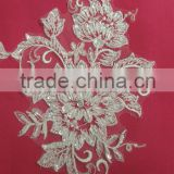 Stock beaded lace flower patches for bridal wedding dress