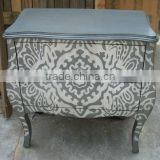 CF30154 Grey with White Print two Drawer Hall Bombay Chest Cabinet Console Table animal print furniture