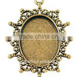 Zinc Alloy Cabochon Settings, Lead Free & Nickel Free, Oval, Antique Golden, about 40x30x2mm, about 24x18mm, hole: 2mm(PALLOY-A1