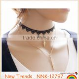 New arrival gold chain black lace choker pearl pendant necklace