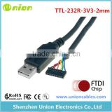 FTDI TTL-232R-3V3-2MM , CABLE, ASSEMBLY; USB-SERIAL TTL; 6 COND.; 24AWG; 3.3V; USB-A PLUG, 2MM HEADER