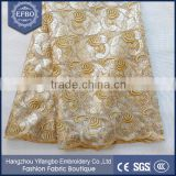 2016 Good Price Gold Color Tricot Mesh Netting Fabric For Wedding Dress