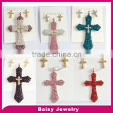 Cheap price factory stainless steel diamond cross necklace jewelry set