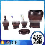 Factory direct dark brown metal effct resin bathroom accessories sets with liquid soap dispenser