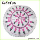 2016 Hot Sale Aztec pattern Round beach towel with tassels, Turkish towel quality yoga mat ,beach blanket