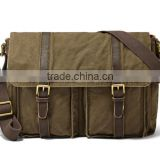 casual cotton canvas laptop briefcase Document Bag with leather trim wholesale