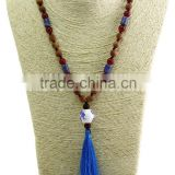 unisex women wooden beaded necklace gemstone pendant necklace with tassel