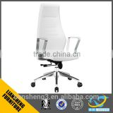 2016 luxury PU leather office chair executive swivel lift with white color aluminum five star base