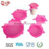 Set of 5 pcs Dilatable Silicone Lids Set Pink Food Grade Silicone