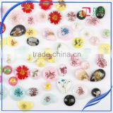 Round shape resin cabochon jewelry pendant , Round dried flower resin cabochon , clear flat back resin cabochon
