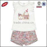 2014 new design cute baby clothing set for girls with custom design printed t shirt and shorts