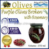 High Quality 100% Tunisian Table Olives,Purple Olives Broken with Rosemary, Purple Olives 370 ml Glass Jar