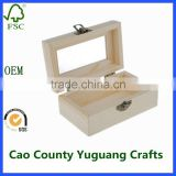 plain unfinished solid wood jewelry boxes with glass lid packaging jewelry gift box with clear lid