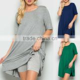 new fashion ladies dress 95% RAYON 5% SPANDEX SOLID JERSEY KNIT ROUND NECK CASUAL DRESS WITH INNER SHORTS