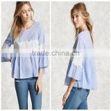 Woman Fashion Loose Style Light Blue Cotton Bell Long Sleeve Blouse Design Patterns back neck