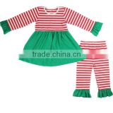 Newest girls ruffle pants sets fall boutique clothes striped Christmas outfits