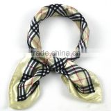 Fashion Plaid Pattern Polyester Small Square Silk Scarves 52*52cm Female Beige Satin Scarves Printed For Spring Autumn