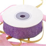 Wholesale Cheap Christmas Gift Wrap Decoration Woven Silk Glitter Metallic Ribbon