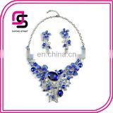 High-grade crystal flowers exaggerated costly court sets of chain woman fancy necklace jewelry set