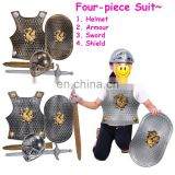 Medieval Roman Knight helmet armor Party cosplay plastic warrior costumes four-piece suit for kids MCH-2480