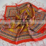 Silk Printed Scarf with Fringes