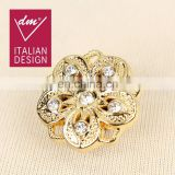 Hot selling rhinestone gold button for garments