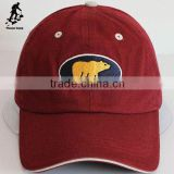 High quality bear embroidered 6 panel caps red baseball hats
