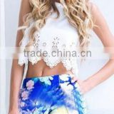 Instyles Wholesale Ladies Summer Sleeveless White Sexy crop tops Short T-shirt Rivet Round Neck Blouse ZT003652 b Clothing