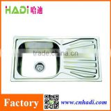 Guangdong Factory Kitchen Design 304 &201 Stainless Steel Sink with drain board HD8143