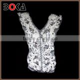 Fashion V-shape flower fabric and sequins lady neck collar accessory                                                                                                         Supplier's Choice