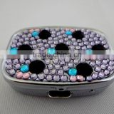 Custom decorative metal bling rhinestone pill box