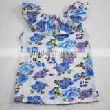 wholesale baby ruffle shirt blue rose flower printed children tops                                                                                                         Supplier's Choice