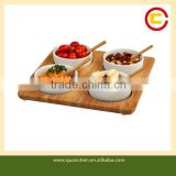 Four-bowl Square Bamboo Serving Platter for Picnic