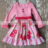 Pretty long sleeves cotton baby girls dress pink floral ruffle dress baby jaipuri printed cotton dress