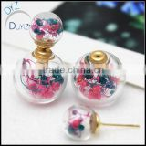 2016 new design fashion double imitation pearl earrings Retro small fresh female line dried flowers glass earrings for girl