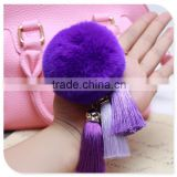 Genuine fox fur ball pom pom keychain,bag pendant, high fashion purse accessory, fluffy heavy density pom pom keychain