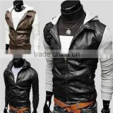 Lamb leather black jacket for men, leather jackets with belted stand collar style - PU jackets - high quality leather