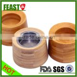 cosmetic packaging frosted glass jar with bamboo lids for sale                                                                                                         Supplier's Choice