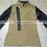 Khaki Denim Jacket With Leather Sleeves and inside 100% Original DuPont Kevlar for Bike Ridding