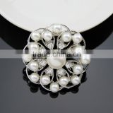 Hot style Chic elagant jewelry Fashion brooch wedding simple brooch silver pearl crystal rhinestone brooch pin