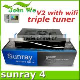 hot sell sunray sr4 v2 sunray4 hd se v2 triple tuner DVB-S(S2),DVB-T(T2),DVB-C sim2.2 card wifi
