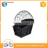 cheap natural handle woven wicker bike bicycle basket for pets dogs