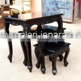 Nest Table with Black Gloss - French Furniture Living Room Sets - Living Room Furniture