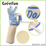 Flexible Foldable Thicken Professional Aramid Kevlar Grip Glove Factory , 100% Cotton Lining Forearm Protection BBQ Gloves