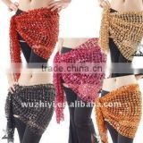 Cheap Wholesale Golden Knit Belly Dance Hip Scarf with Sequins, Belly Dance Shining Belt