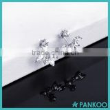High Quality Fashion Earring Big Zircon Silver Lucky Maple Leaf Ear Clips Stud Earrings for girls 1 Pair