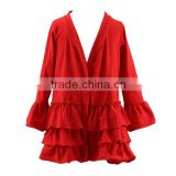 Wholesale Kid Children Girls Solid Red Ruffle Hem Jacket / Girls Coat with Hood